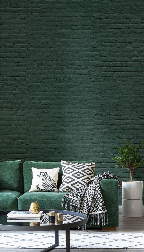 gr ne ziegel tapete wandmalerei wohnen pinterest wohnzimmer wandfarbe und tapeten. Black Bedroom Furniture Sets. Home Design Ideas