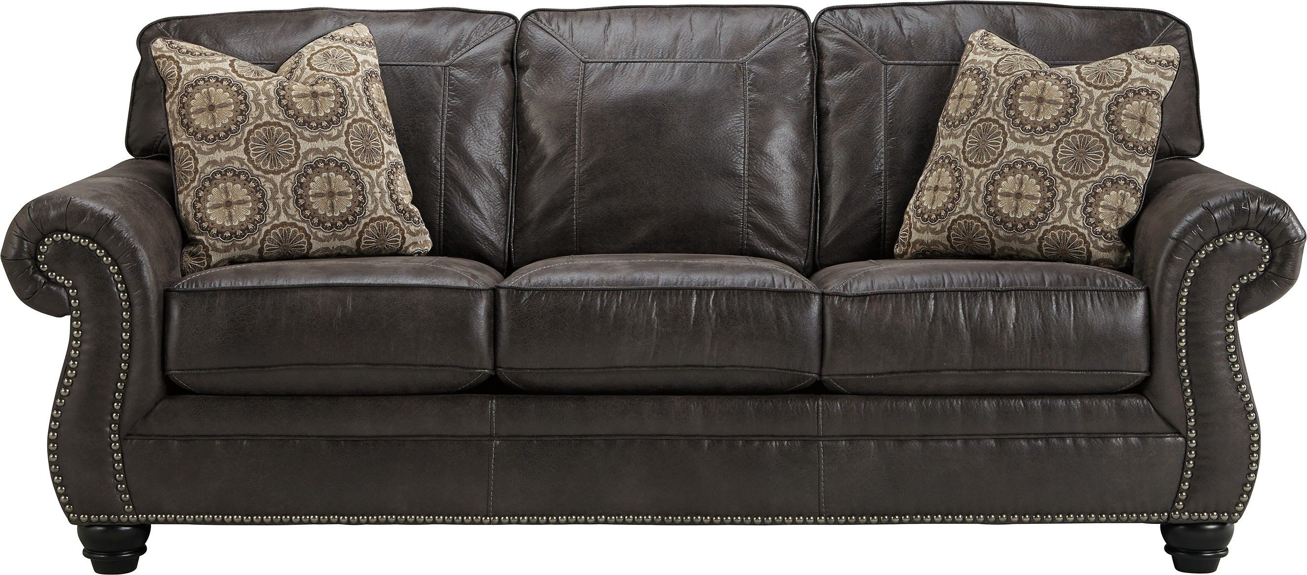 Best Ashley Breville 8000438 Benchcraft Sofa Faux Leather Sofa Traditional Sofa Charcoal Sofa 400 x 300