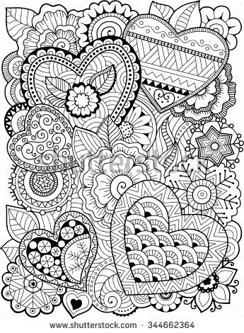 hearts and flowers coloring pages for kids | Vector coloring book for adult. Hearts and flowers | Heart ...
