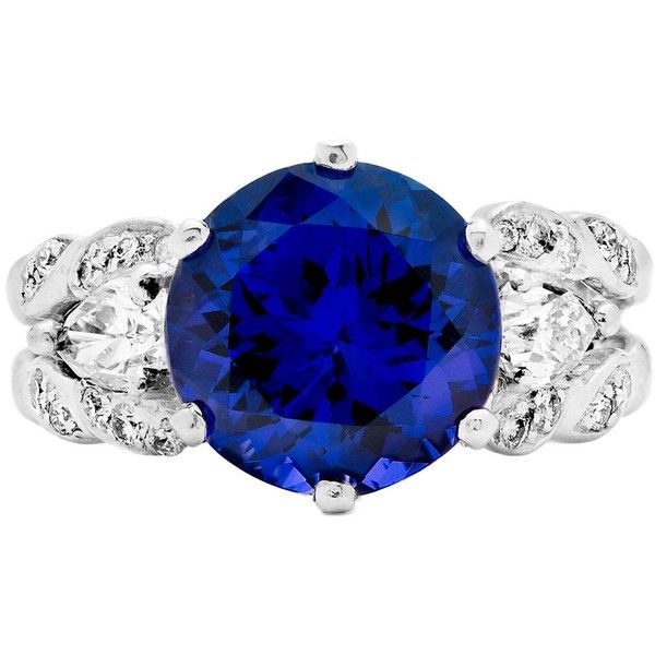 Preowned Tanzanite And Pear Shaped Diamond Platinum Cocktail Ring (€6.475) ❤ liked on Polyvore featuring jewelry, rings, multiple, platinum diamond rings, cocktail rings, tanzanite platinum ring, round cut diamond rings and platinum rings