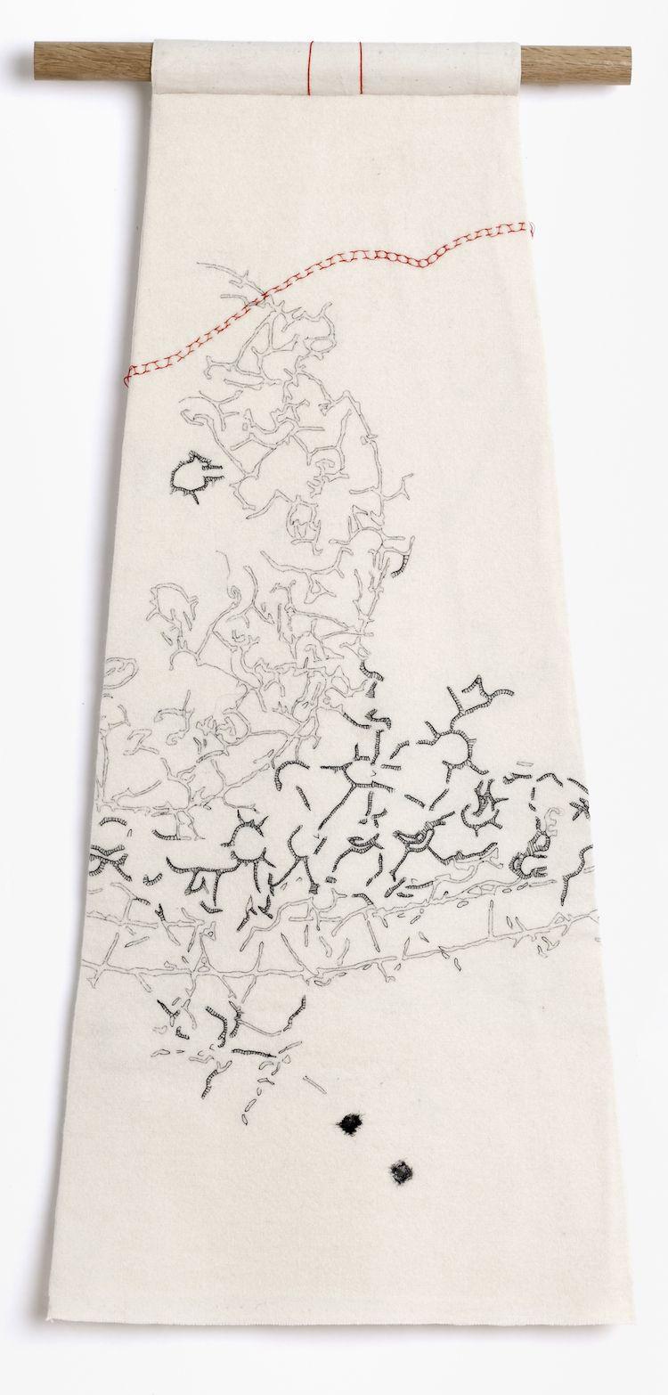 Caroline Bartlett, Backwards, Forwards, 2011, 34 x 317 cm, detail hand stitch