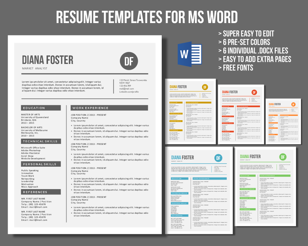 Neat Word Resume Templates  Letter Templates