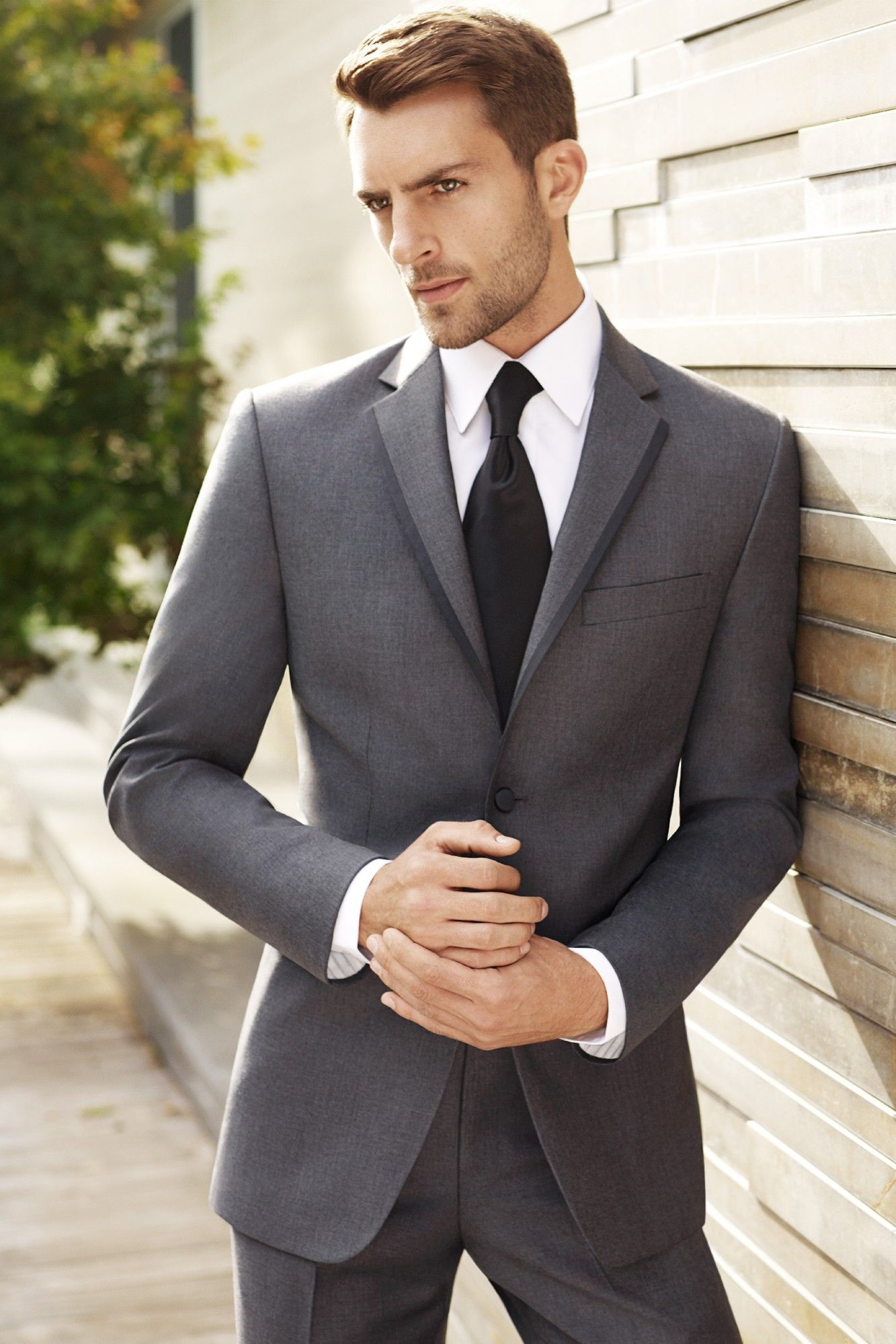 groomsmen medium grey suit, blue tie (NEED TO MATCH