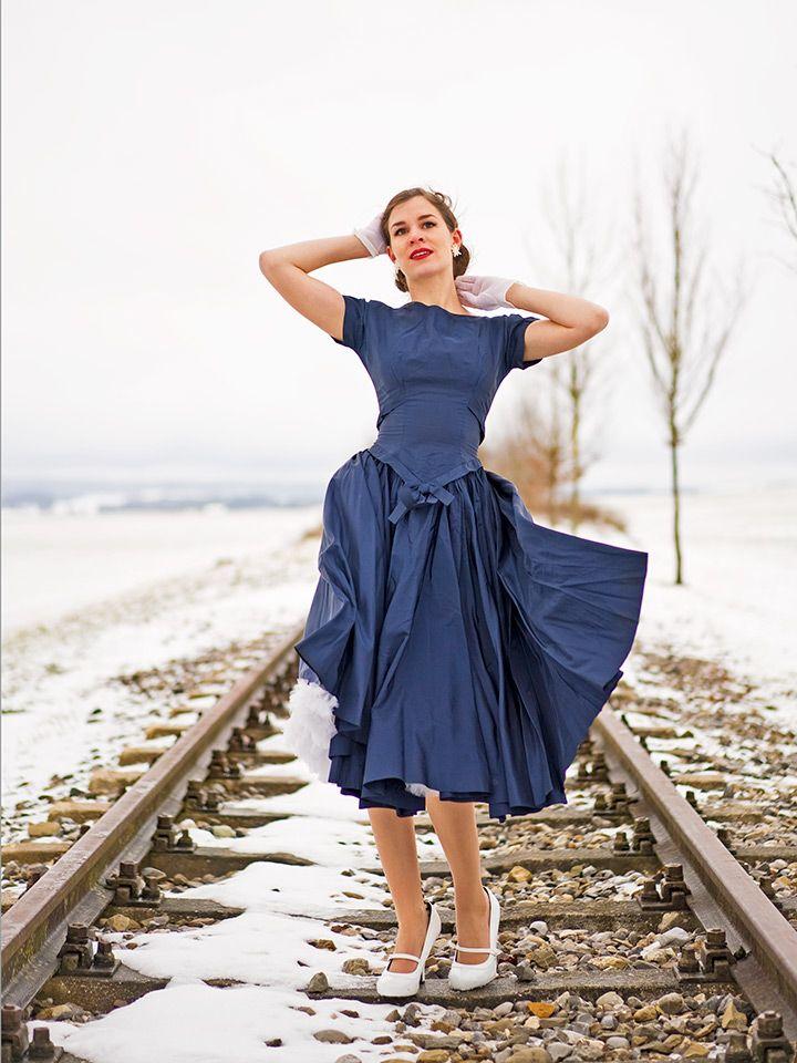 RetroCat wearing a blue true vintage dress from the 50s ...