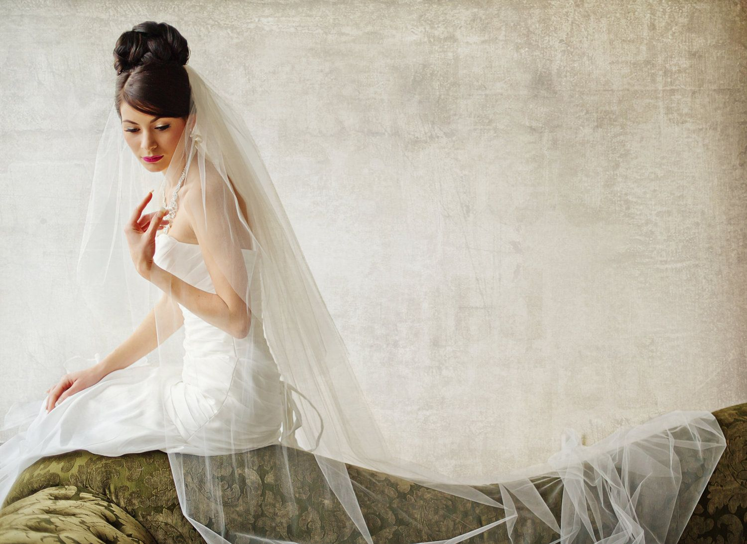 Bridal Veil, Traditional Veil, Two Layer Cathedral Veil, Wedding ...