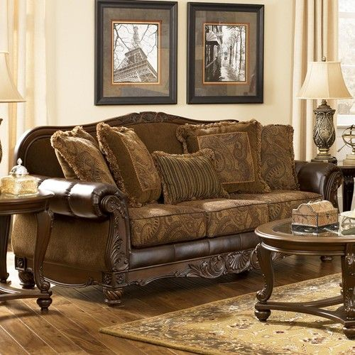 Fresco DuraBlend   Antique Traditional Stationary Sofa With Rolled Arms By  Signature Design By Ashley   Ivan Smith Furniture   Sofa Arkansas,  Louisiana, ...