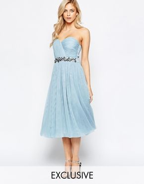 0c247bd3a2 Little Mistress Bandeau Embellished Midi Dress With Tulle Skirt | A ...