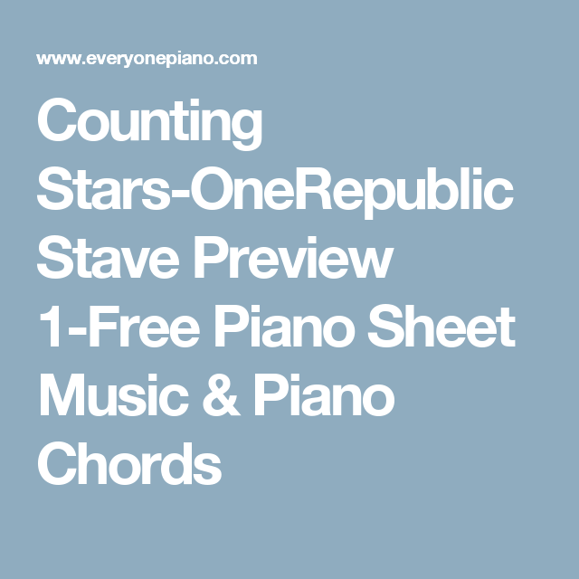 Counting Stars Onerepublic Stave Preview 1 Free Piano Sheet Music