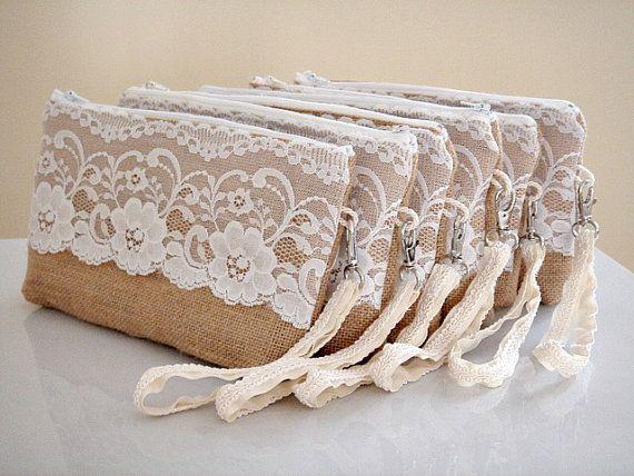 Bridesmaid set of 6 burlap clutches with wristlet strap ...