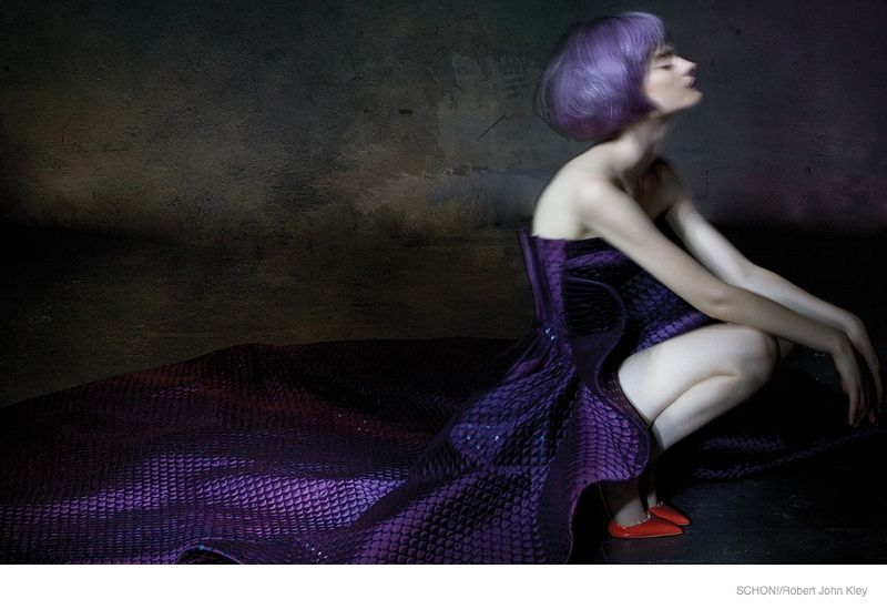 Alli Cripe Wears Elegant Dresses for Schon! Magazine #schonmagazine purple-hair-model01 #schonmagazine