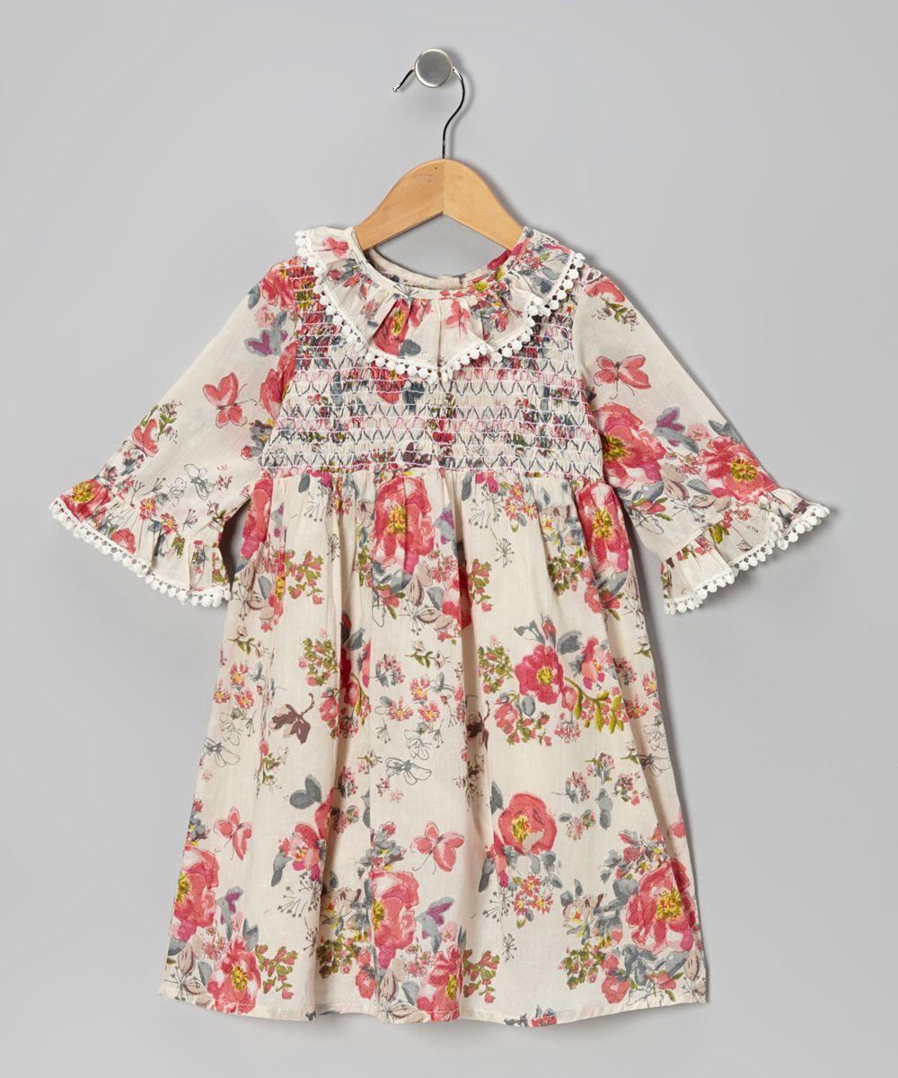 Tan Floral Smocked Dress - Toddler & Girls | zulily