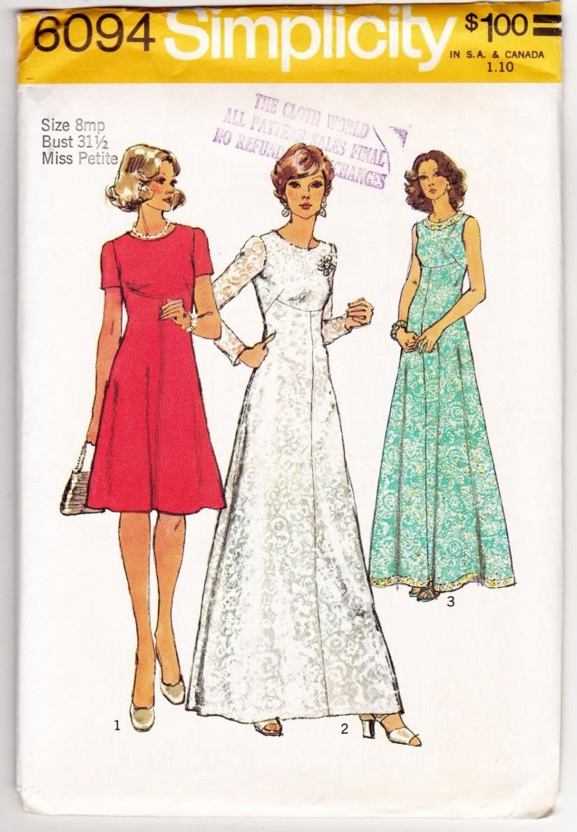 1970s Petite Dress Evening Gown Women Sewing Pattern