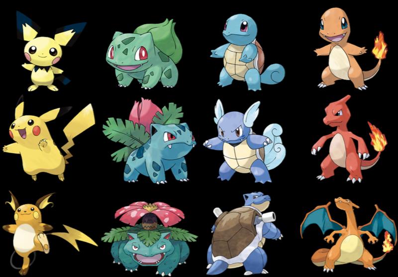 Original Pokémon Game Starters: Pikachu, Bulbasaur ...