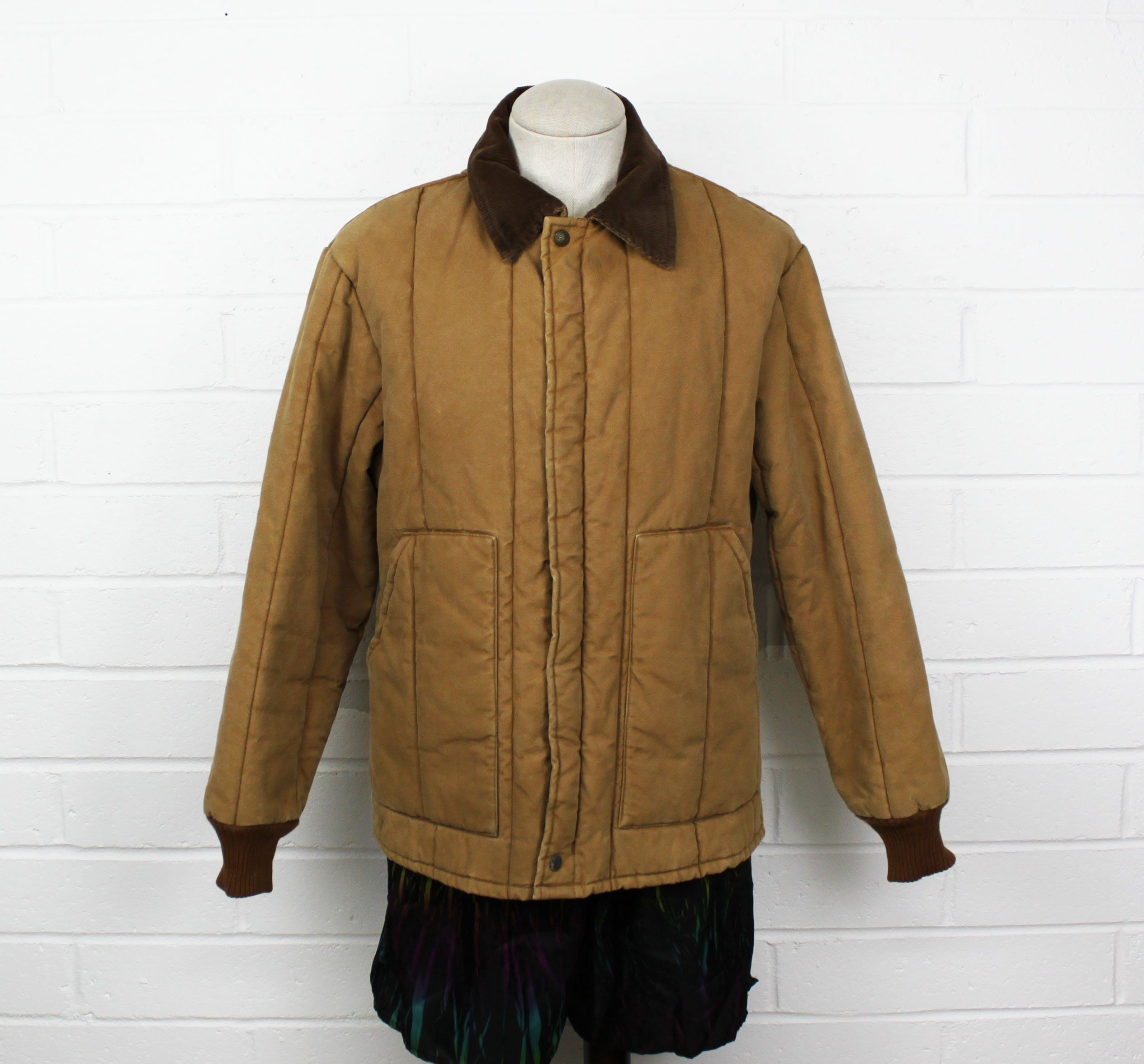 Vintage 80s Utility Brown Walls Insulated Jacket Khaki Zip Up