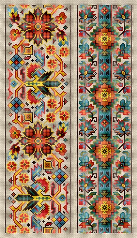 Cross stitch pattern sampler vintage borders by