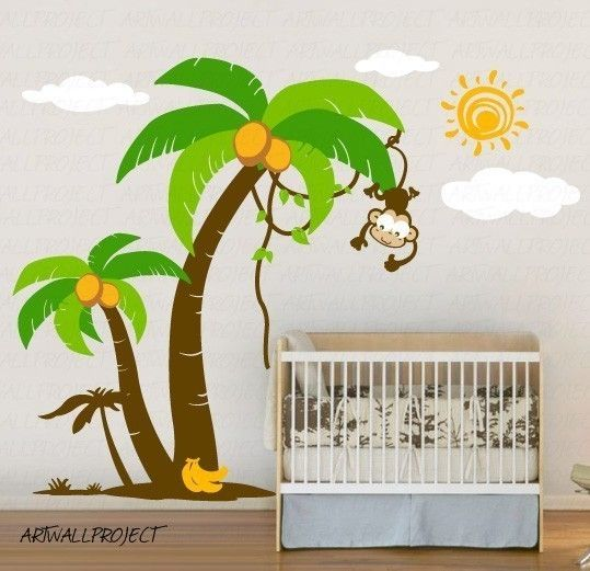 Removable Vinyl Wall Decal   Palm Trees With Cute Monkey. $145.00, Via Etsy. Amazing Pictures