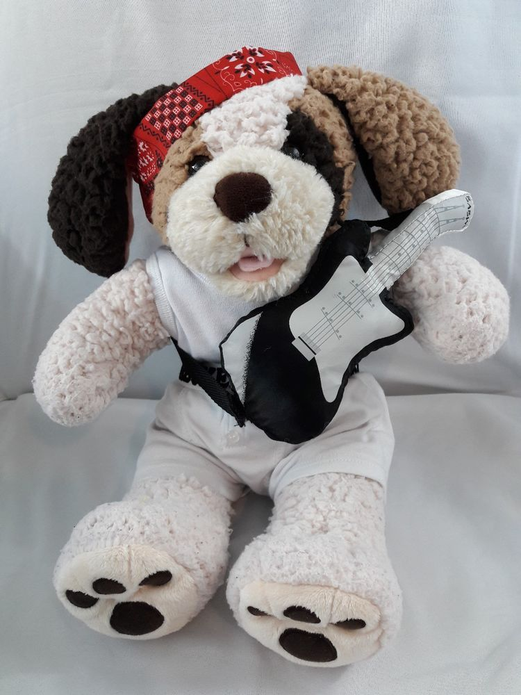 Build A Bear Heartbeat Rockstar Puppy Dog 16 Plush Stuffed Animal
