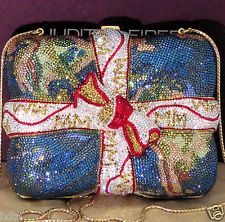 MINT JUDITH LEIBER CRYSTAL WORLD MAP GIFT-WRAPPED MINAUDIERE HANDBAG ~ LIKE NW!!