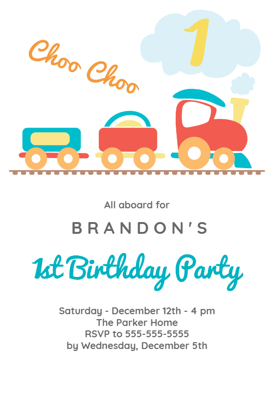 1st Birthday Train Invitation Template Customize Add Text And Photos Print Send Online For Free Invitations Printable Diy