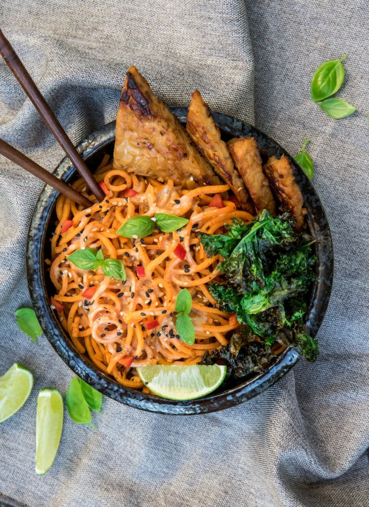 creamy sweet potato noodles with garlic tempeh and crispy kale