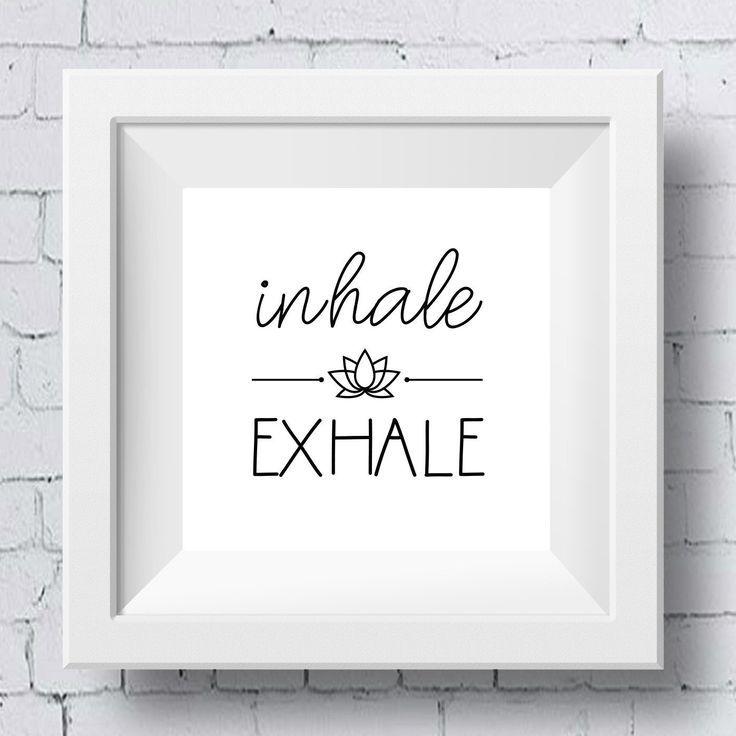 Inhale Exhale Yoga Printable Wall Art  Illustrated Lotus Yoga | Etsy