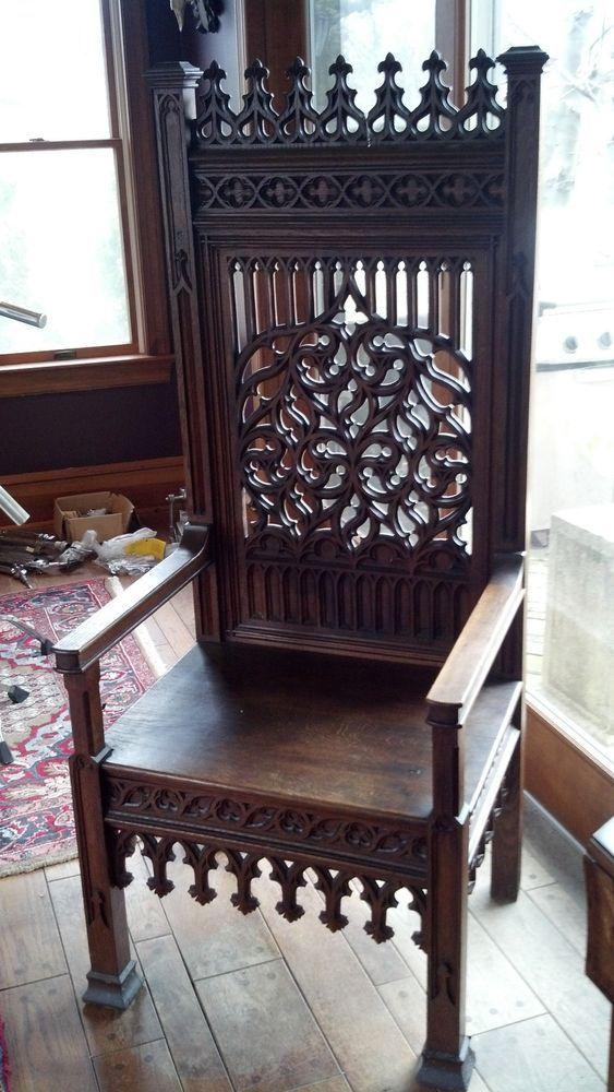 Antique Gothic Church Throne Chair More - Antique Gothic Church Throne Chair Antiques & Furniture