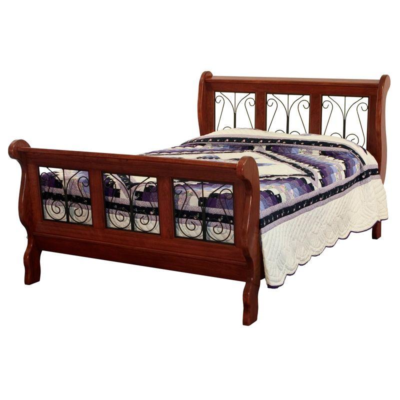 Amish Classic Wrought Iron Sleigh Bed   Amish Furniture   Shipshewana  Furniture Co.