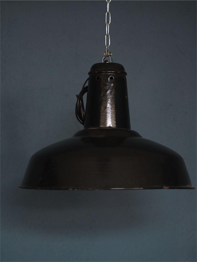 Emaillee Gamelle Industrielle Suspension Noir Lampe Abat Jour nkOX08wP