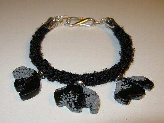 Braided Snowflake Obsidian Buffalo Fetish Bracelet by LotusJewels, $22.49