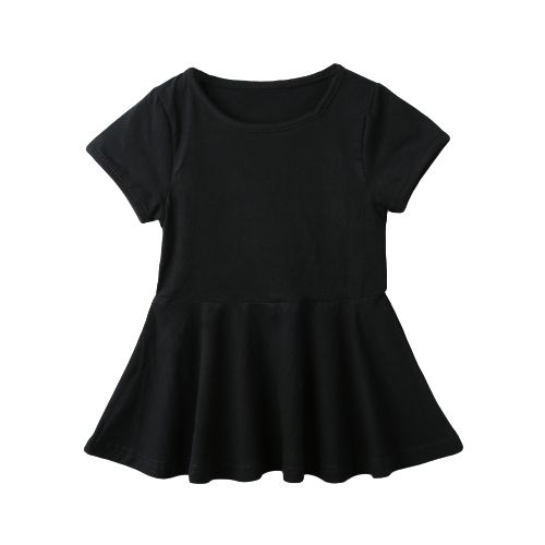 New Cute Girls Mini Dress Solid Color Flared Shape Round Neck Short Sleeve Casual One-Piece