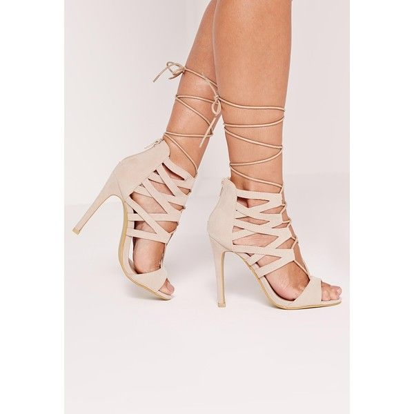 Missguided Strappy Heeled Sandals ($24) ❤ liked on Polyvore featuring shoes, sandals, nude, cut out sandals, nude high heel sandals, nude high heel shoes, lace up heel sandals and high heel shoes