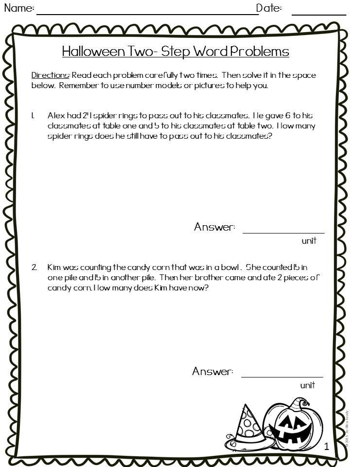 Two Step Word Problem Printables For Halloween Perfect For Grades 1 3 Word Problems Word Problem Printables Words
