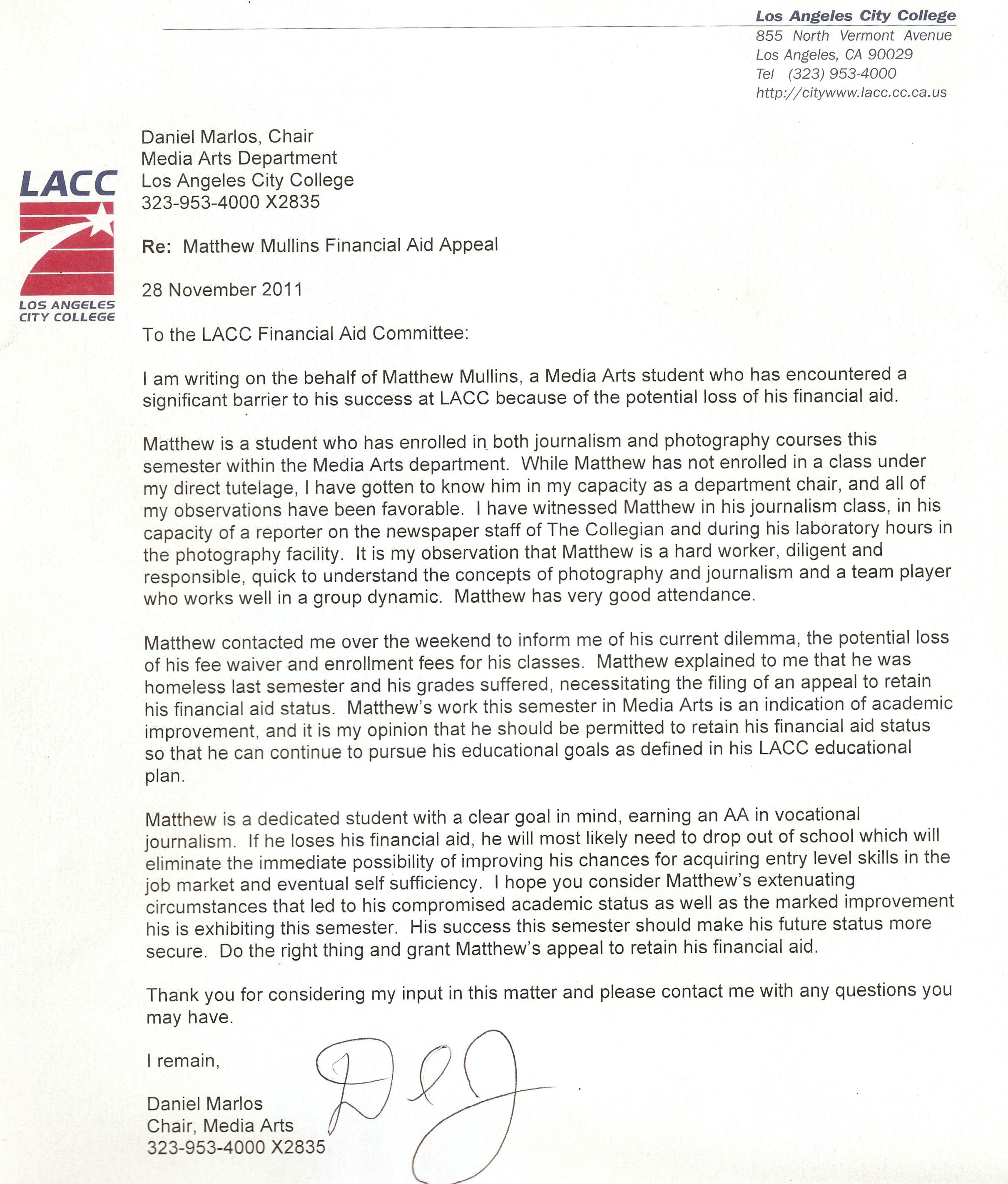 A Letter To Financial Aid From My Professor Financial Aid Los Angeles City College City College
