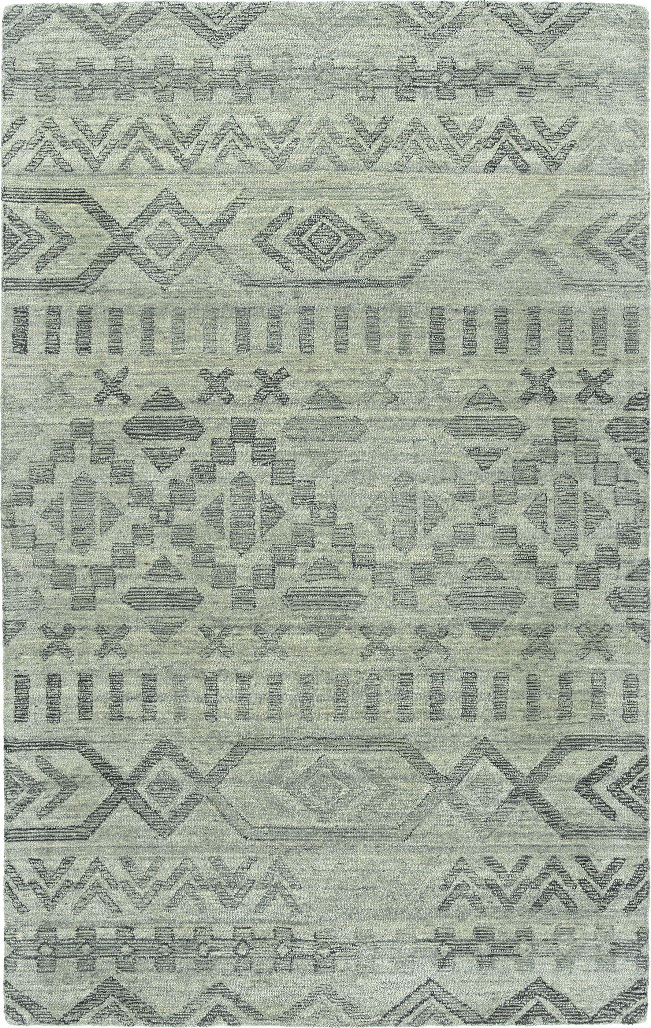 Gray Tribal Print Rug Hand Tufted Of