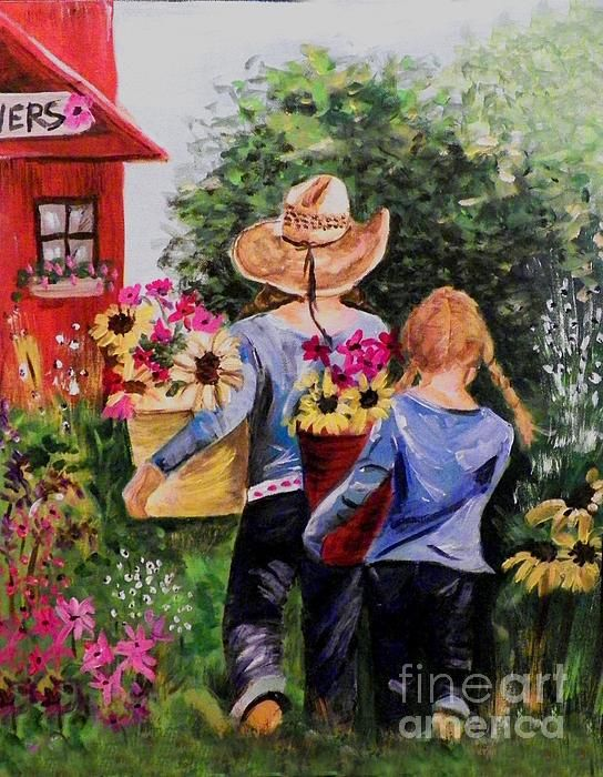 """Visiting The Red Shed""  Acrylic painting  maureen Marie Sundstrom"