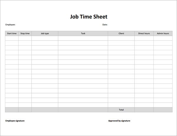 Job Timesheet Template Free  Timesheet Templates