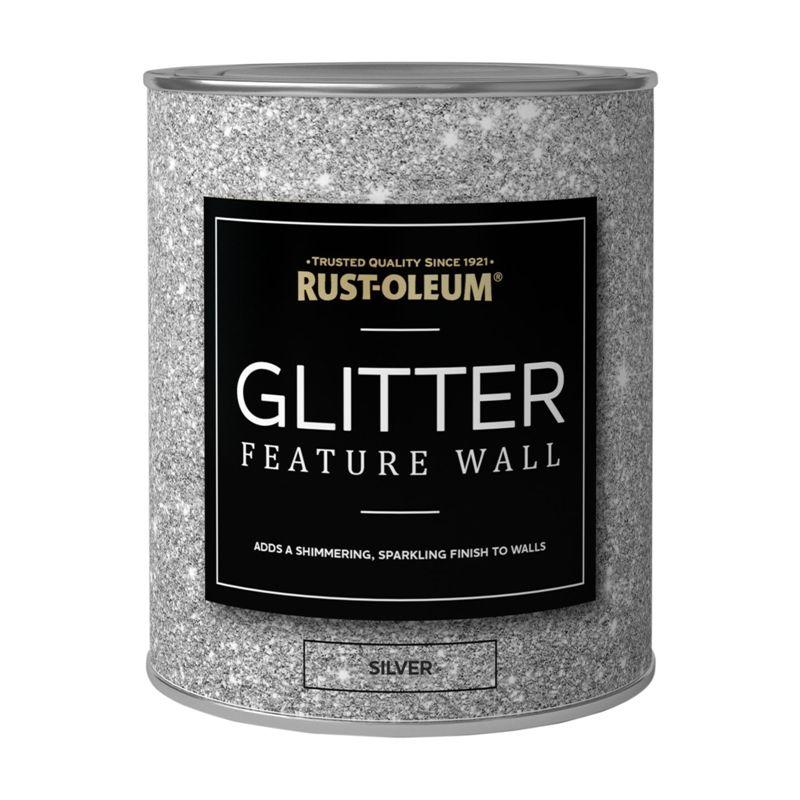 Rust Oleum Feature Wall Glitter Silver 1l In 2019 Silver