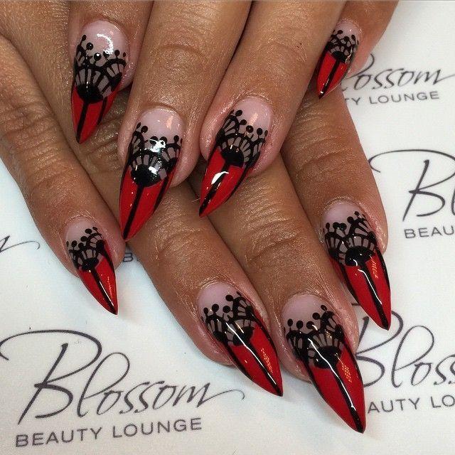 Pin by Cseni on Nailart | Red stiletto nails, Stiletto ...