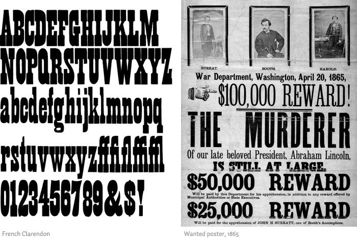 French Clarendon Wanted poster from 1865 Type – Wanted Sign Font