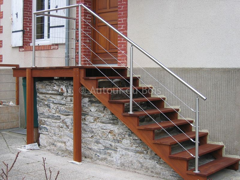 Construction du0027escaliers bois et inox - Artisan à Angers - Terrasse - fabriquer escalier exterieur bois