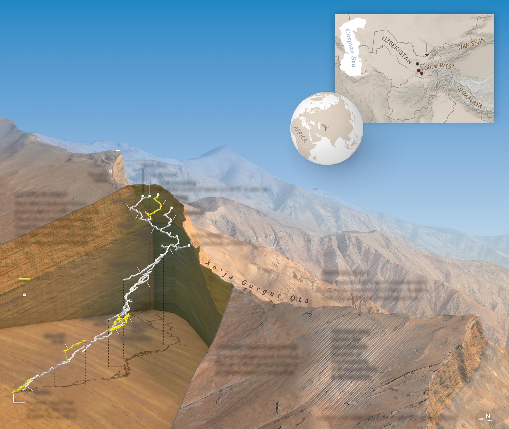 Far beneath a remote mountain range in