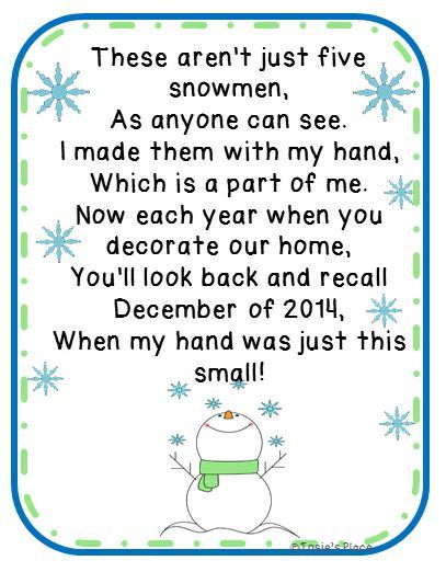 FREE Five Snowmen Poem And Ornament Idea Gift For Parents Christmas Art Craft