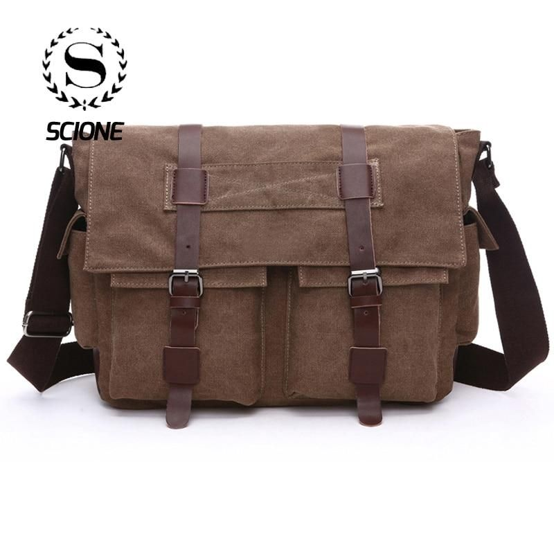 Practical Business Messenger Bags for Men Student Canvas Crossbody Shoulder Pack Retro Solid Casual Office Travel Bag