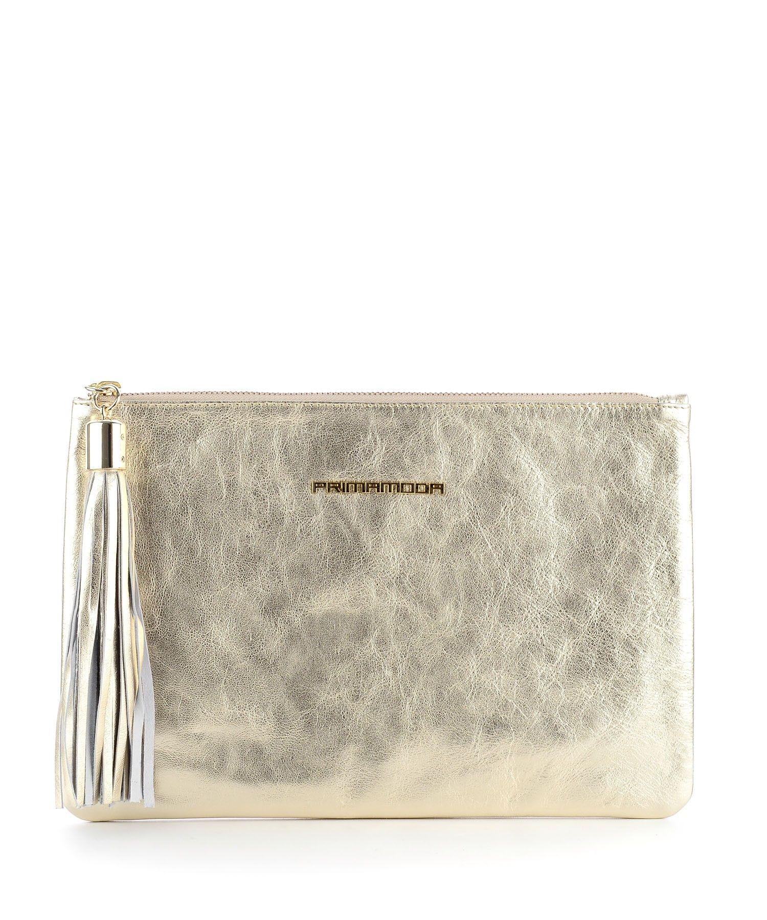 Złota kopertówka ze skóry metalizowanej - Torebki kopertówki - wieczorowe - Modne torebki damskie, skórzane, zamszowe - PRIMAMODA
