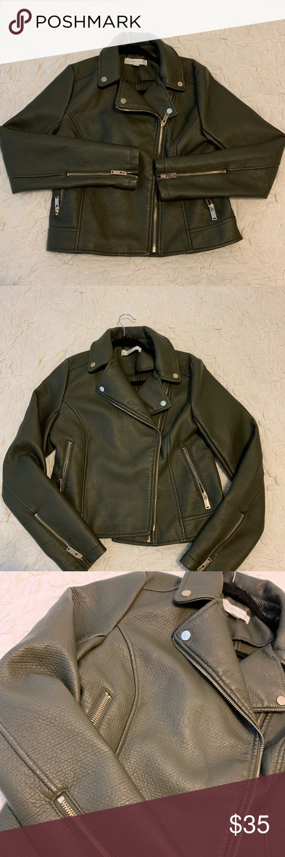 New New York Co Olive Green Leather Jacket S Never Worn New York And Company Olive Green Leat Green Leather Jackets Olive Green Leather Jacket Leather Jacket [ 1740 x 580 Pixel ]