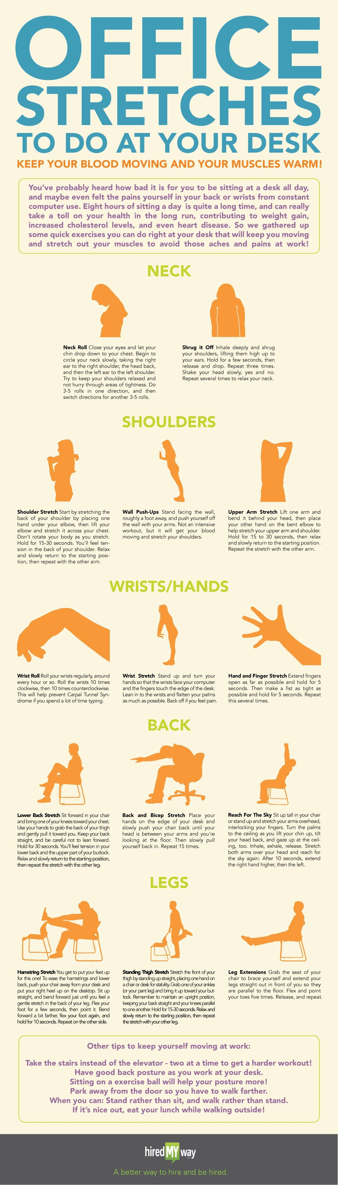 Great Stretches You Can Do At Work To Improve Circulation Three Way Switch One Works Flexibility And Sore Muscles Workplace Health Infographic Infografa