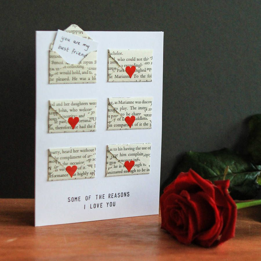 Six Love Note Mini Envelope ValentineS Card  Mini Heart