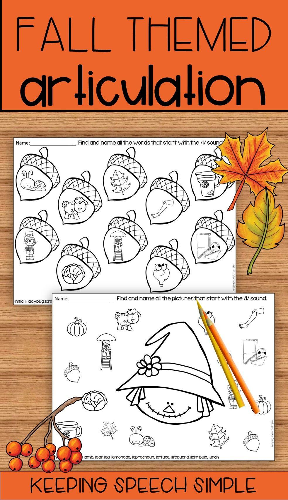 Fall Speech No Prep Articulation Worksheets Articulation Worksheets Speech Activities Halloween Elementary [ 1701 x 983 Pixel ]