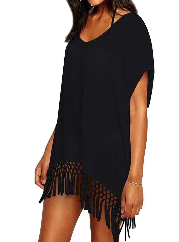 094cba3592 Women's Clothing, Swimsuits & Cover Ups, Cover-Ups, Womens Chiffon Tassel  Beachwear Stylish Swimwear Bikini Swimsuit Cover up - H- Black -  CW1805ZUI5W ...