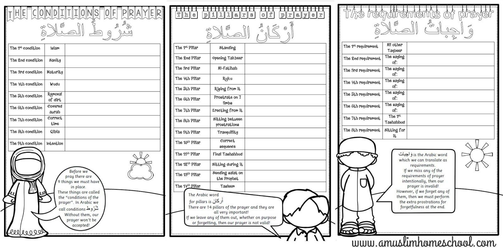 Salaah worksheet folder printable; The conditions, pillars
